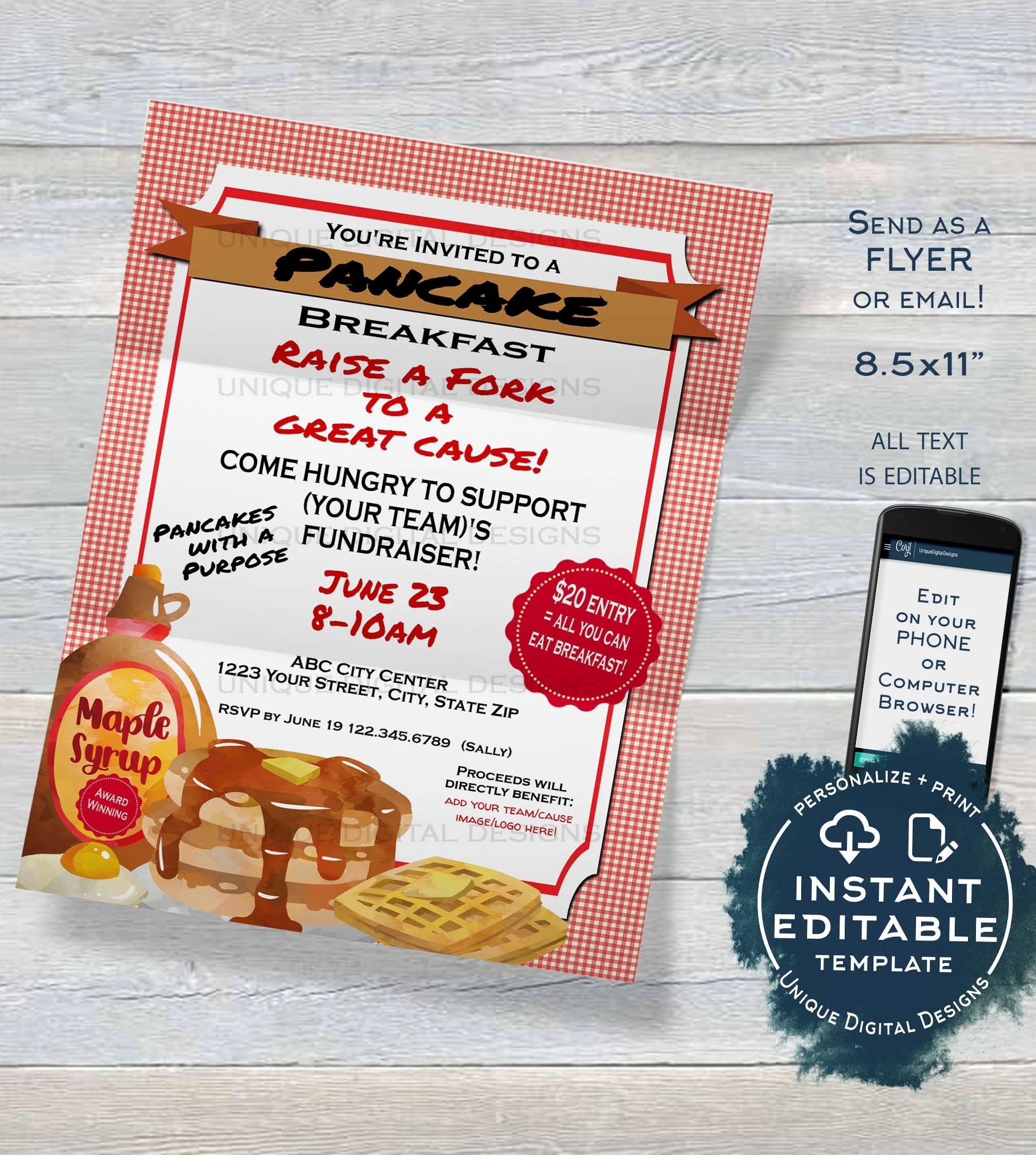 Pancake Breakfast Fundraiser FLYER Invitation Editable Etsy