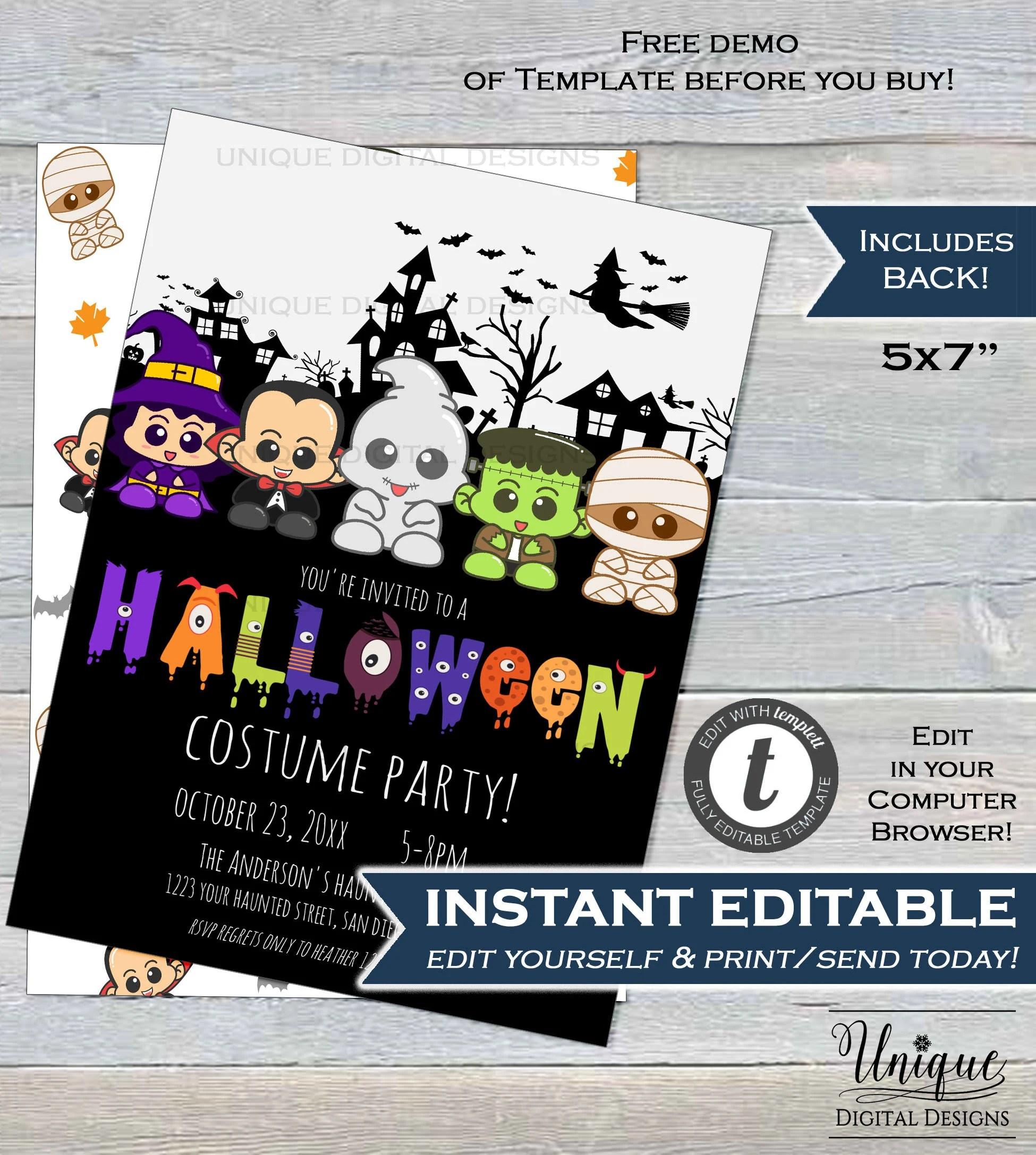 Halloween Costume Party Invitation Editable Halloween Party Etsy