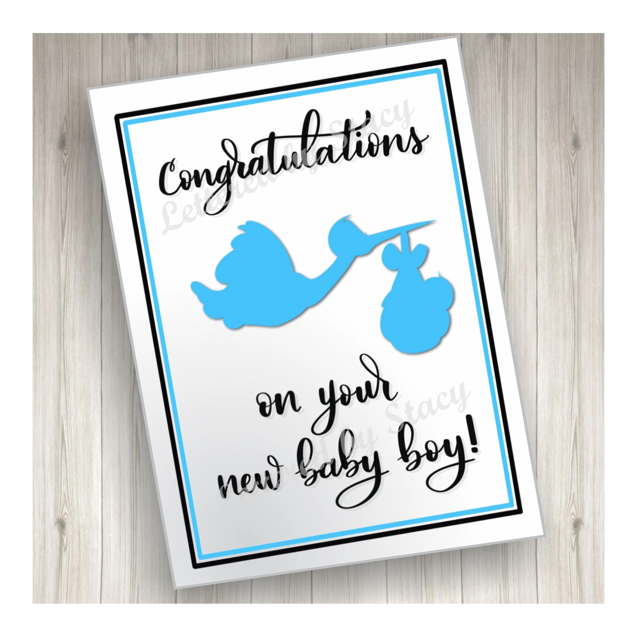 New baby card Congratulations on your new baby boy with blue Etsy