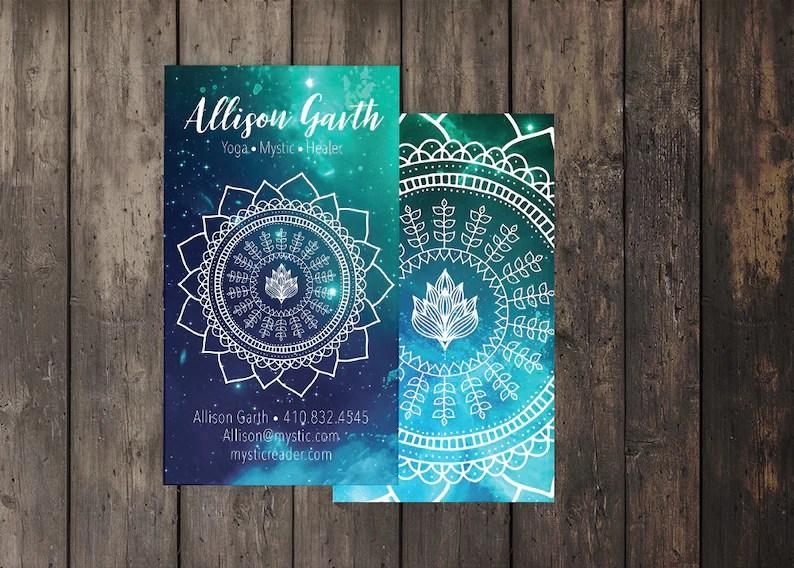 Spiritual Business Card sacred geometry template lotus Etsy