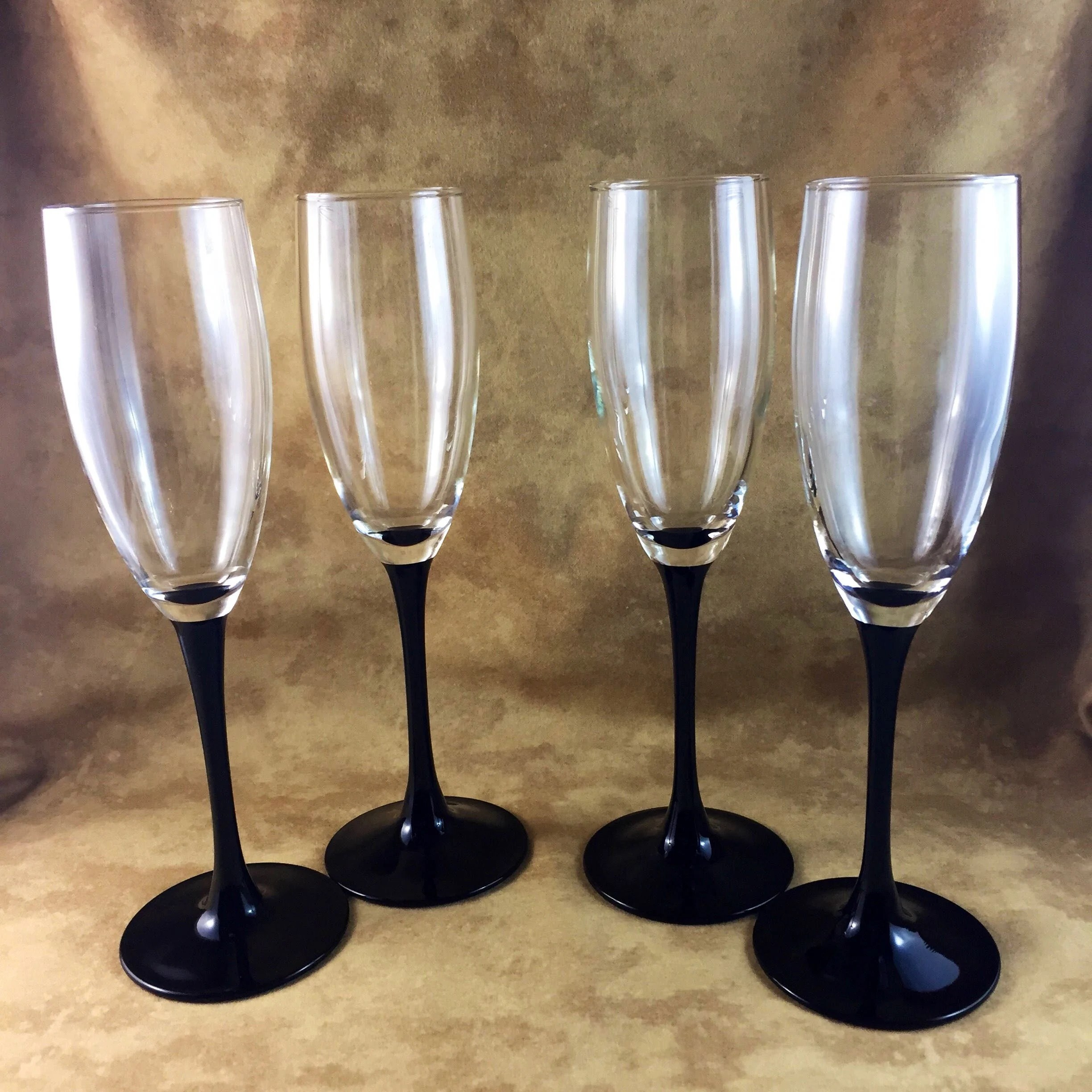 Wine Glasses With Black Stems Luminarc Champagne Glasses Set Of Four Tall Champagne