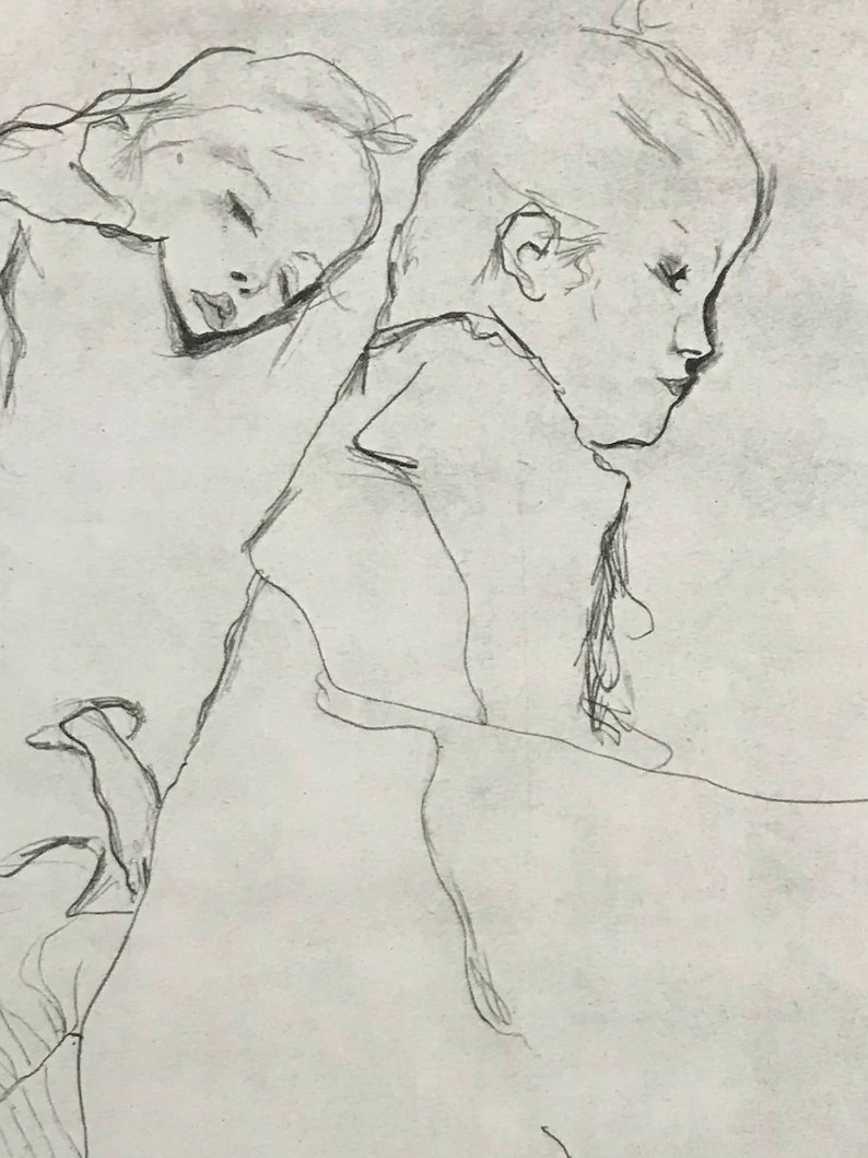 Egon Schiele Libro Egon Schiele Two Little Girls From Egon Schiele As A Draughtman By Otto Denesch 1950 9 25 X 13 5 Inches