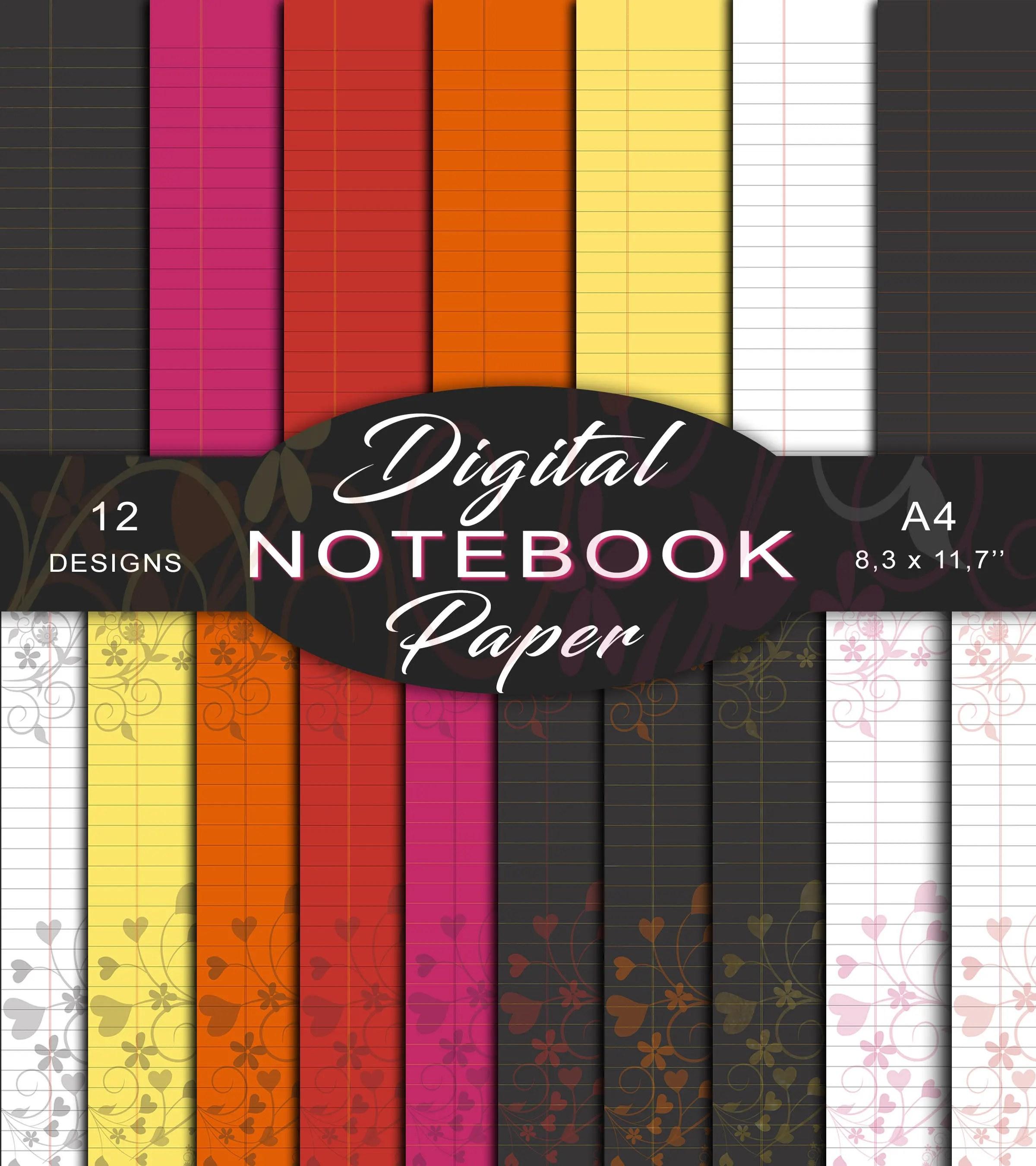 Printable notebook paper Digital Lined Paper Digital Etsy