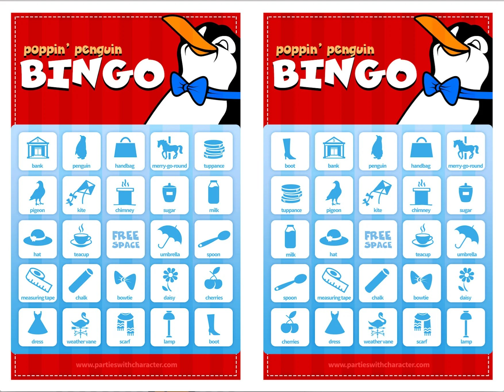 Pingouin Mary Poppins Mary Poppins Party Game Poppin Pingouin Bingo Fichier Numérique