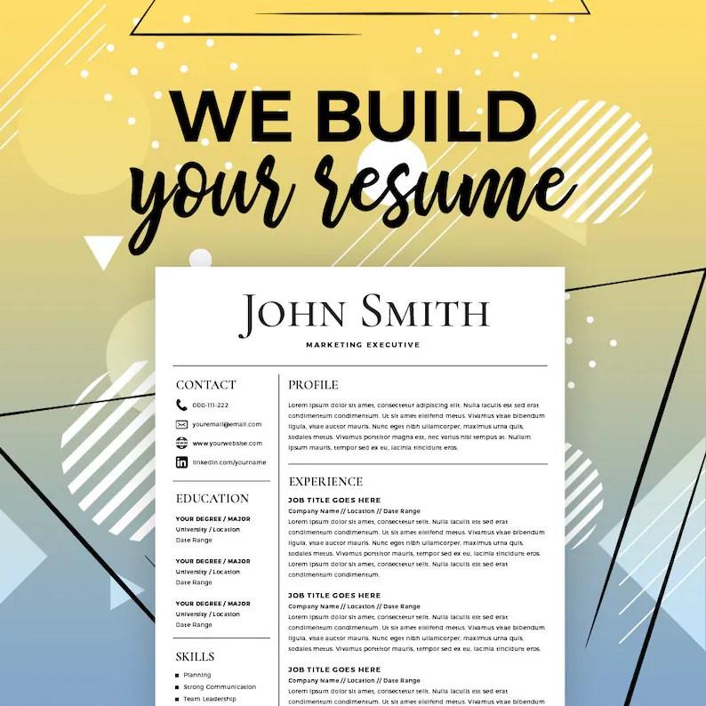 Resume Service Resume Creator Online Resume Maker Build my Etsy