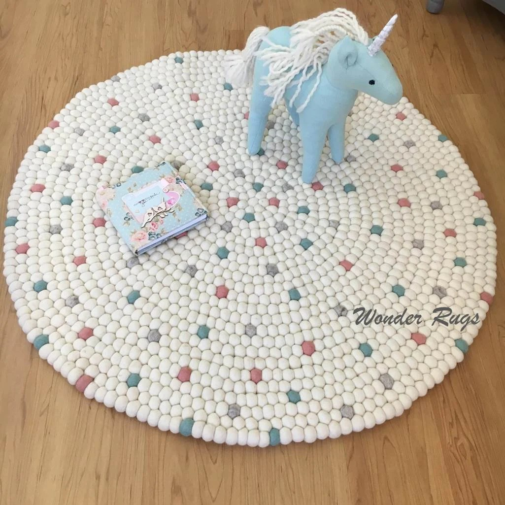 Children's Floor Rugs Felt Ball Rug Kids Area White With Colorful Dots Nursery Carpet Pom Pom Rug For Girl Room Baby Playroom Mat Children S Floor Rugs