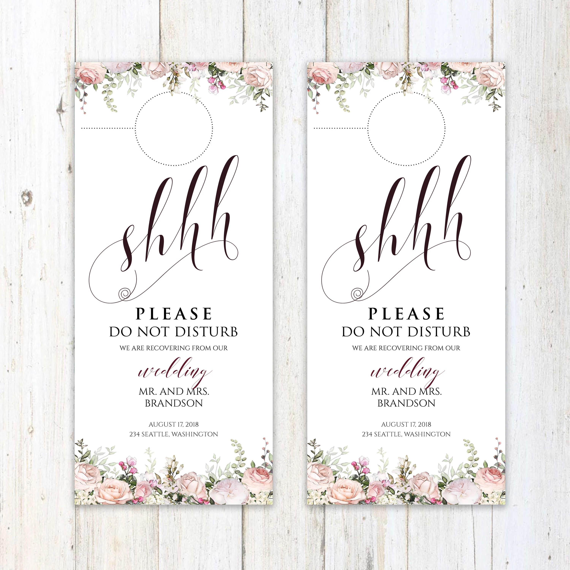Wedding door hanger door hanger template hotel door hanger Etsy