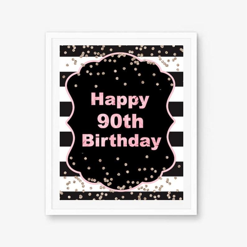 90th birthday sign 90th birthday ideas 90th birthday poster Etsy