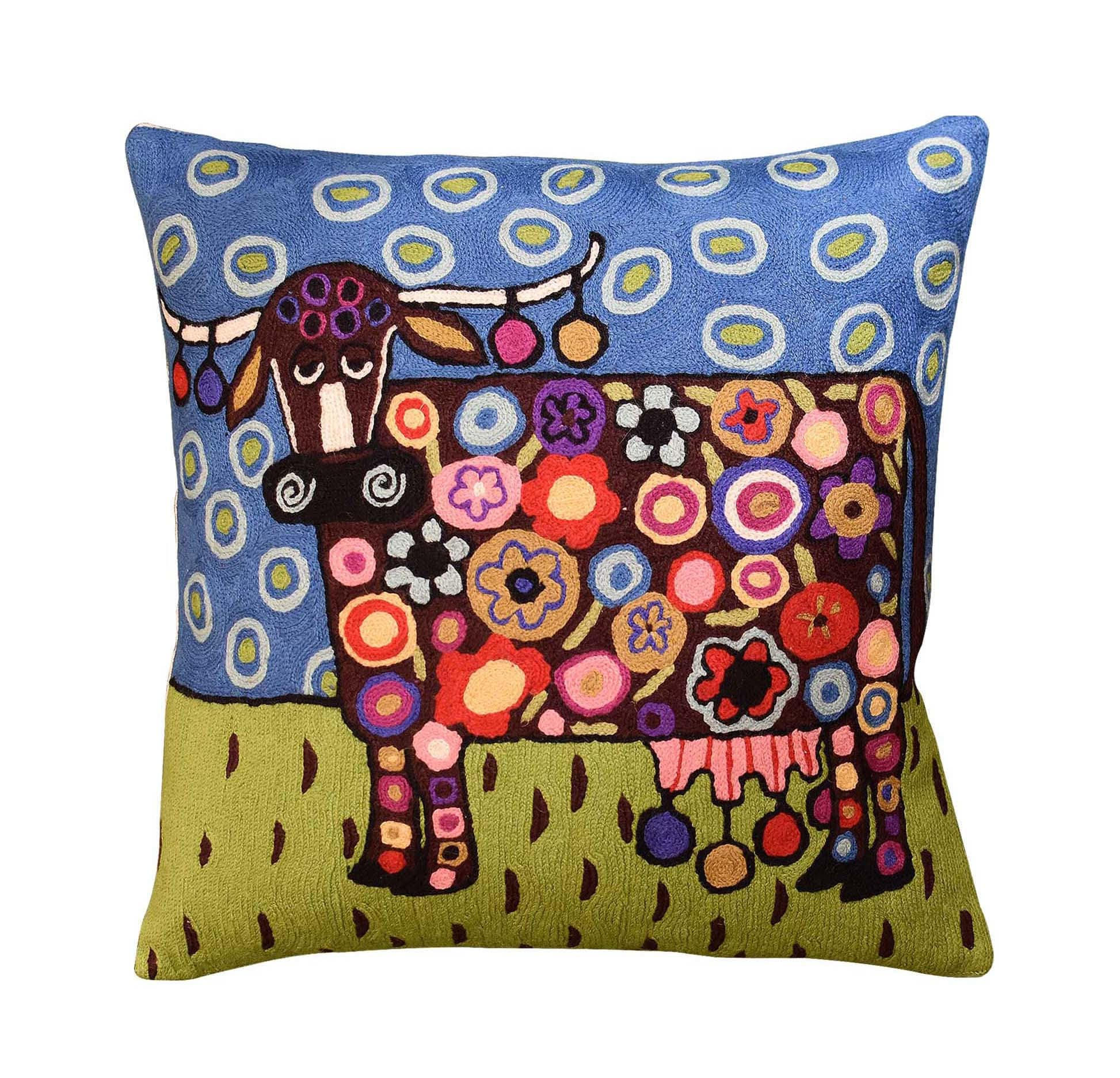 Karla Décoratrice D'intérieur Blooming Cow Karla Gerard Decorative Pillow Cover Handembroidered Wool 18