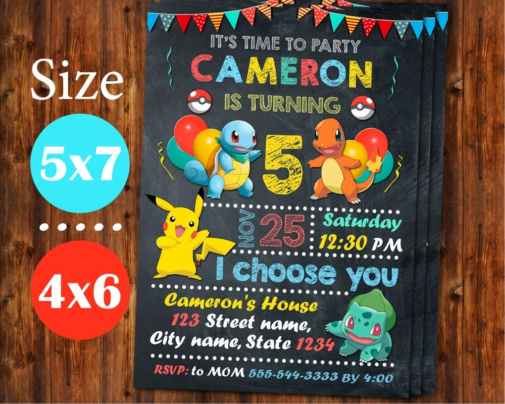 Pokemon Invitation Pokemon Birthday Invitation Pokemon Etsy