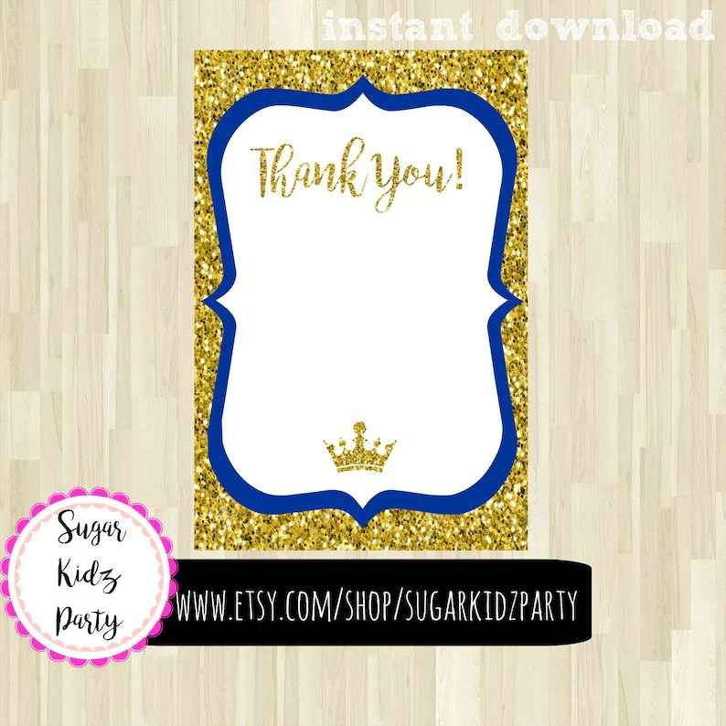 Little prince party thank you card little boys birthday Etsy