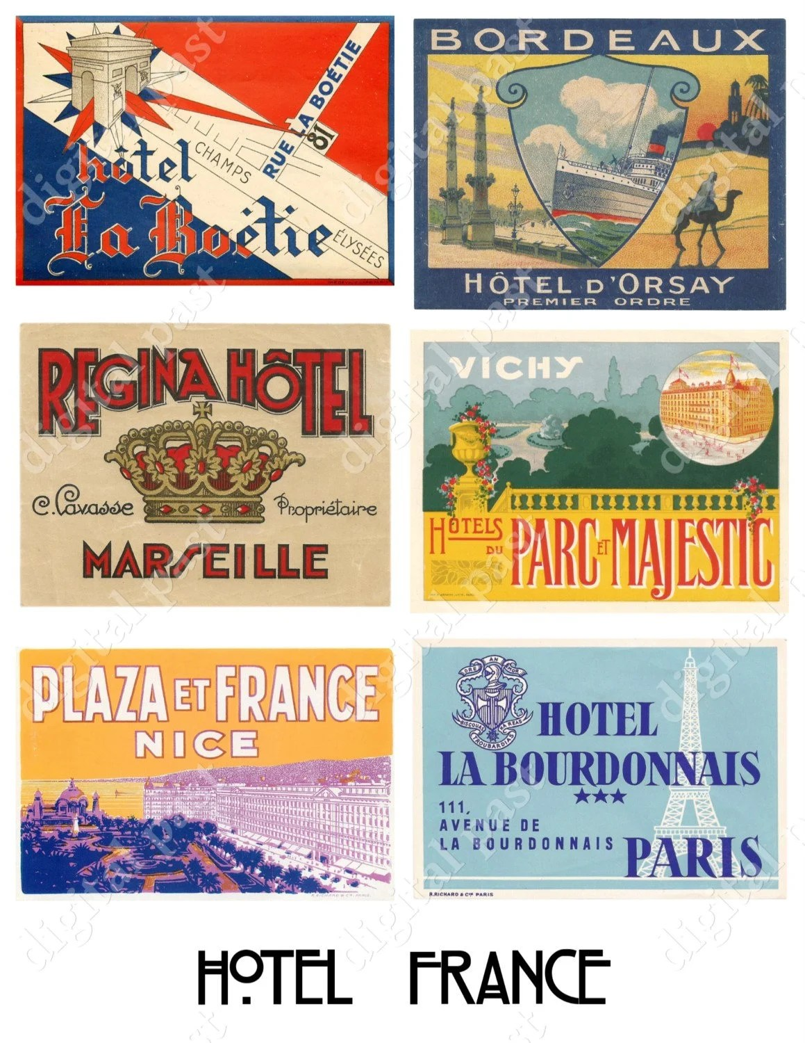 Stickers Bordeaux Hotel France Digital Download Printable Collage Sheet Collection Of Vintage French Hotel Luggage Labels Travel Stickers Paris Bordeaux