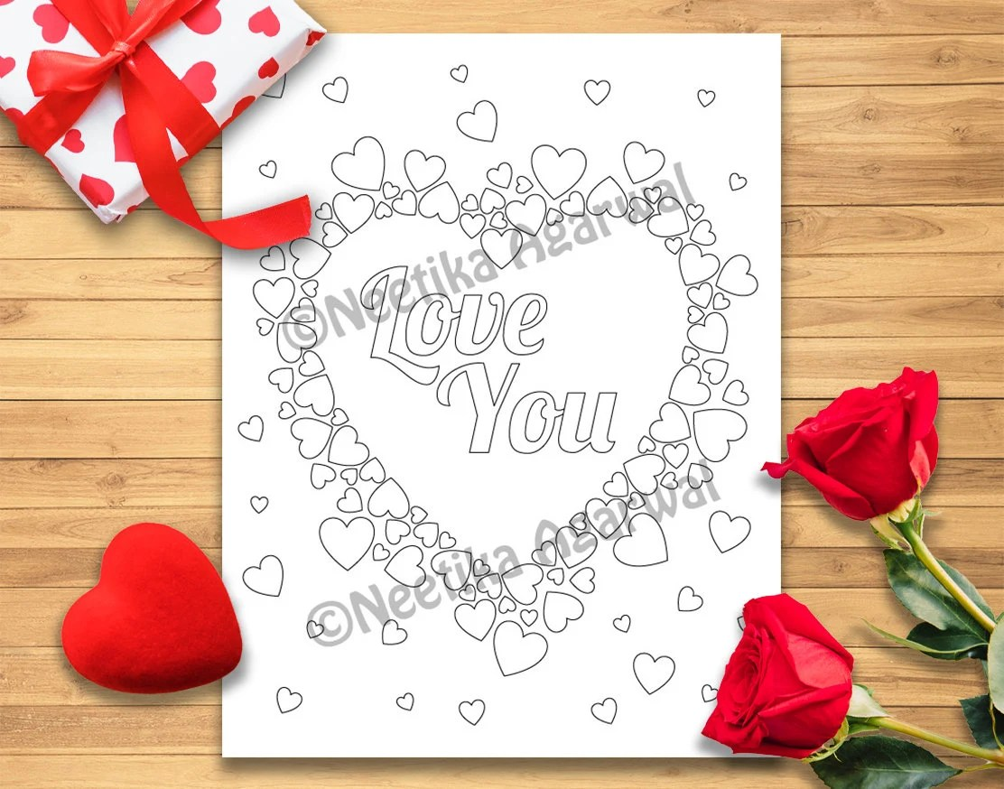 Love You Heart Valentine Adult Coloring Page Etsy