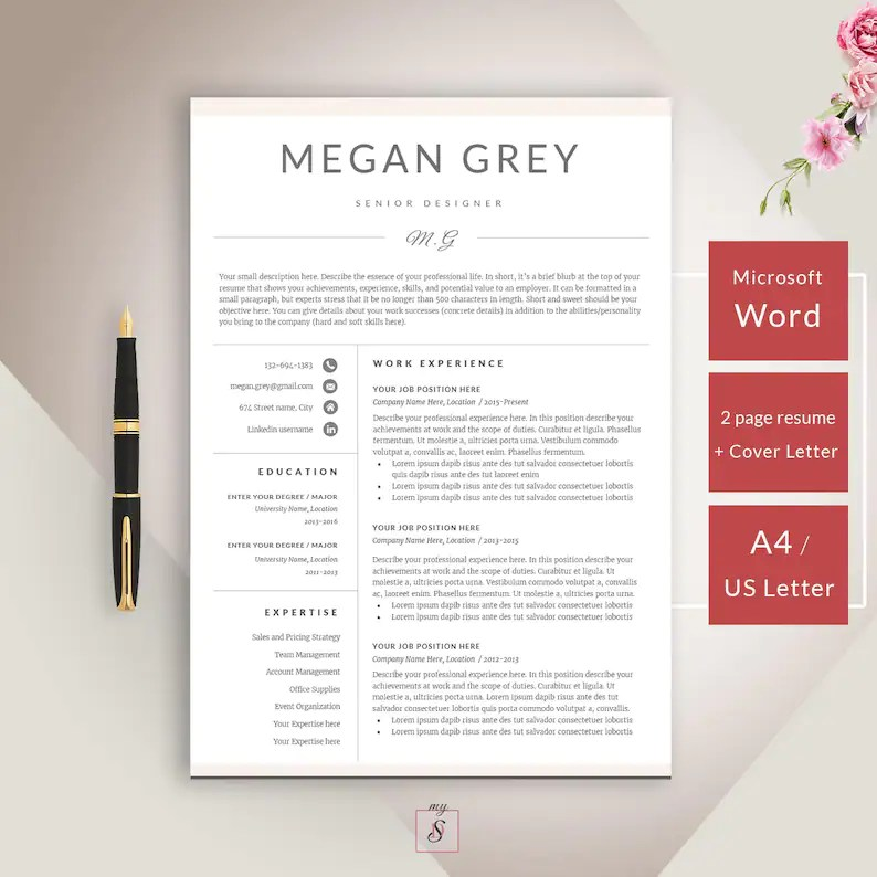 SALE Resume Template CV Template Cover Letter for Word Etsy