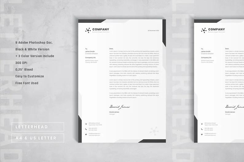 Simple letterhead template Elegant letterhead layout design Etsy