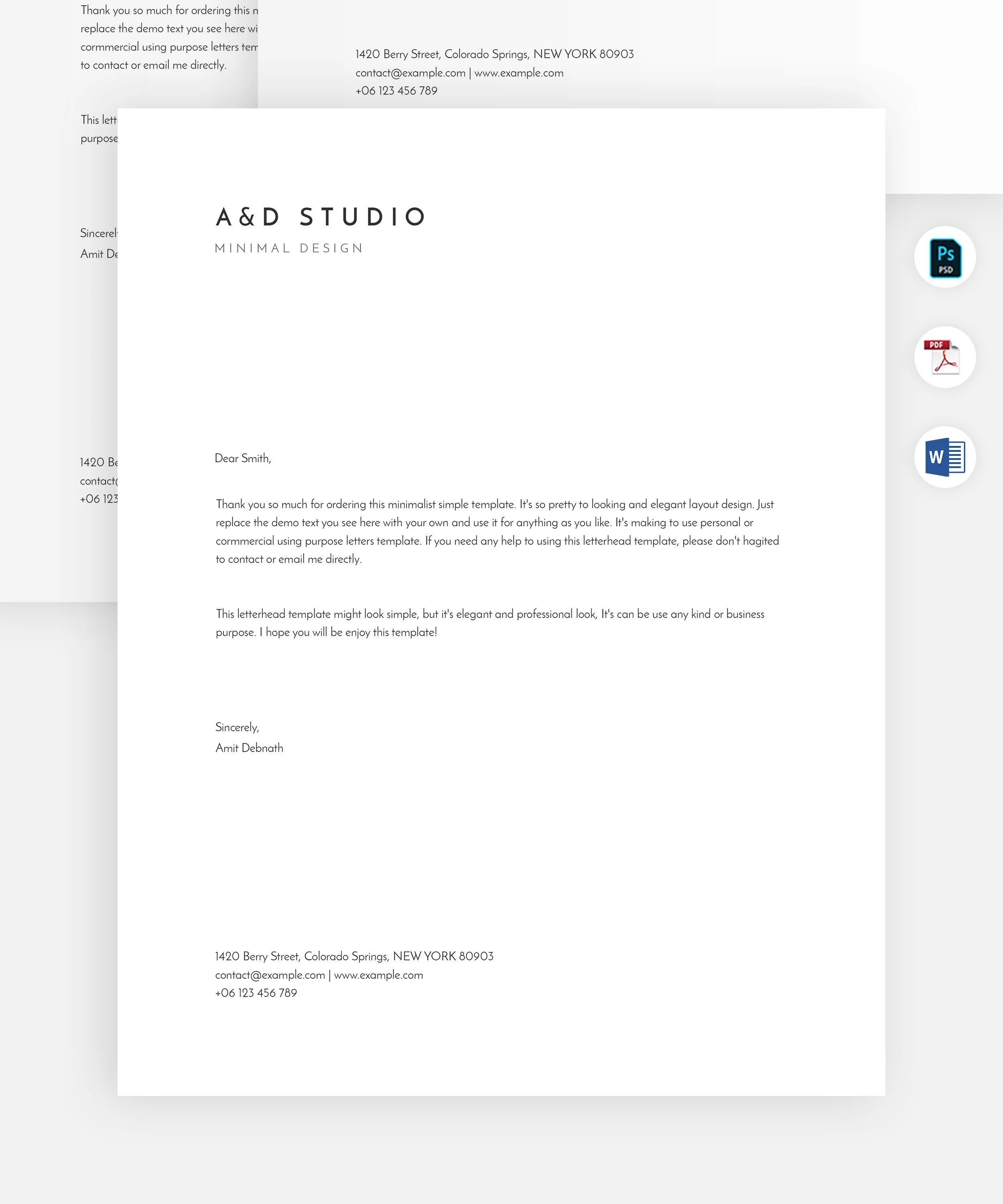 Minimal letterhead template Simple and modern letterhead Etsy