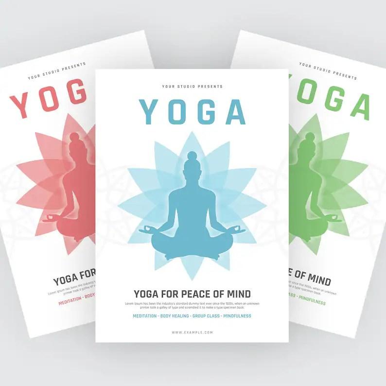 YOGA flyer Yoga class flyer Yoga class invitation Etsy