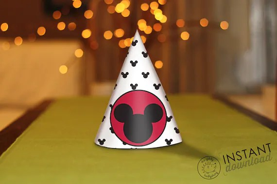 DIY Printable Mickey Mouse Party Hat Treat Cone Birthday Etsy