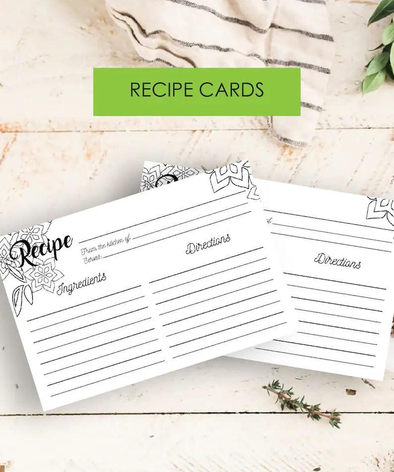 Recipe Card Printable Instant Download Rustic Recipe Card Etsy