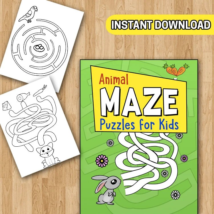 BEST VALUE Kids Activity Pack Animal Mazes 30 Coloring Pages Etsy