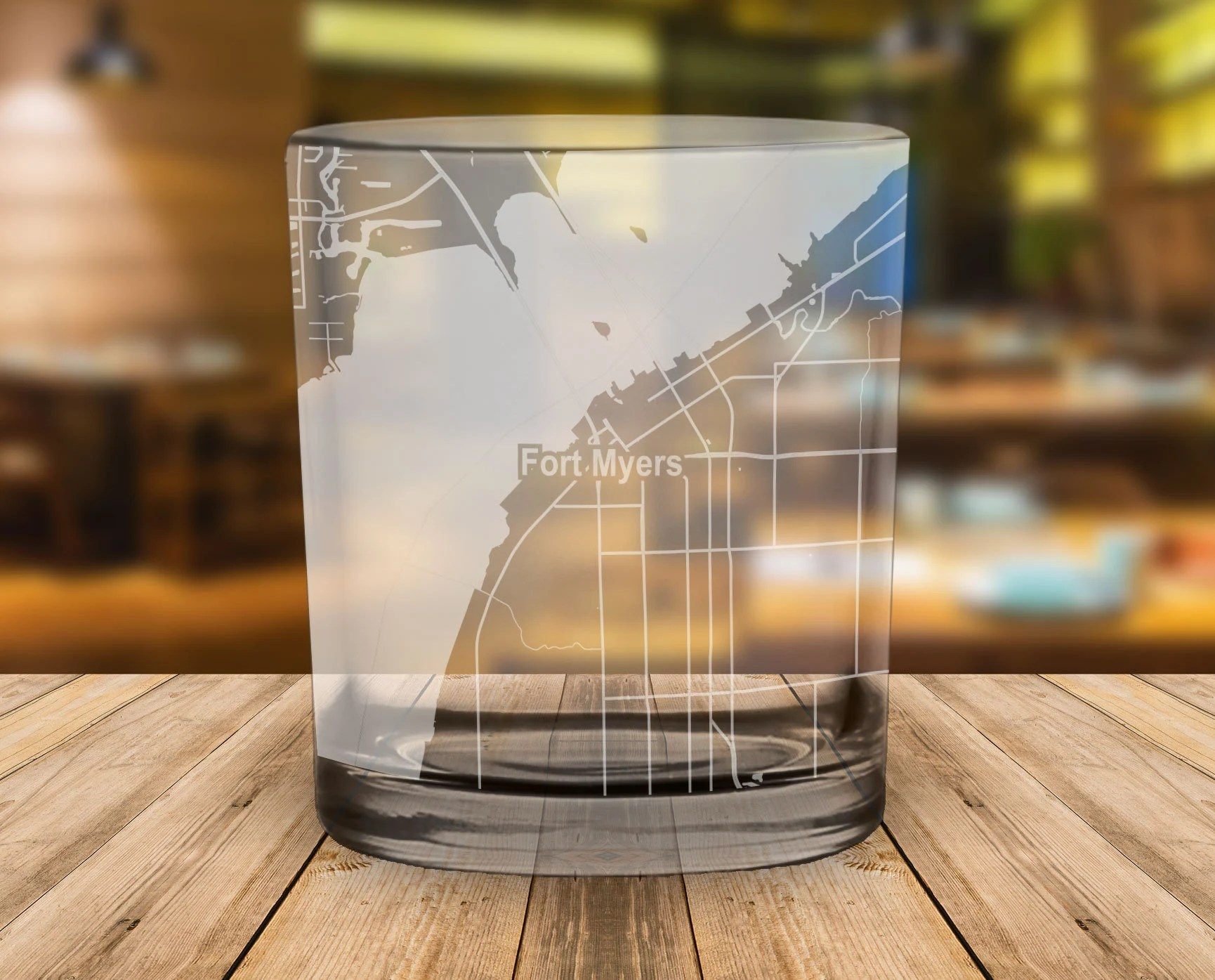 Whiskey Glasses Myer Fort Myers Florida Map Whiskey Glass Gift