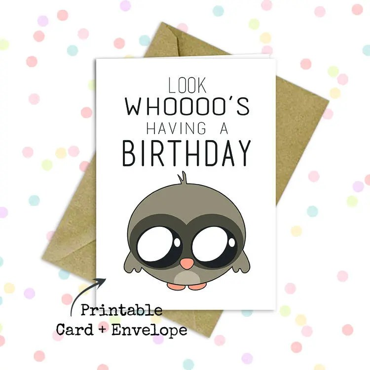 Cute owl birthday card/ Kawaii owl card/ Cute punny card/ Etsy