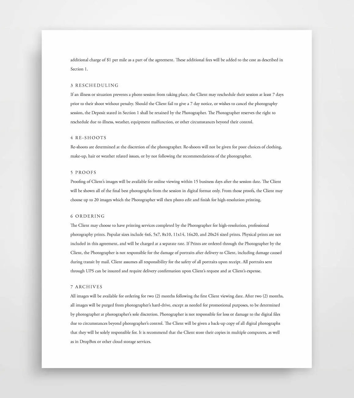 Photography Contract Template Photography Agreement Contract Etsy