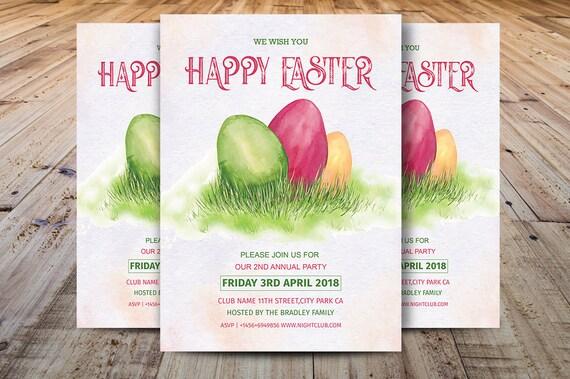 Happy Easter Party Flyer Easter Egg Hunt Flyer Template Etsy