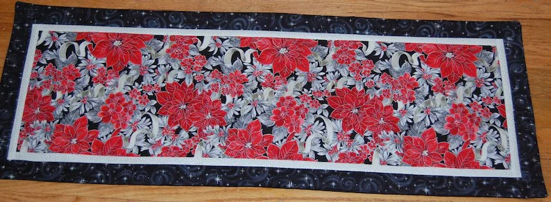 Poinsettia Christmas Table Runner 37 X 14 Reds Silver and Etsy