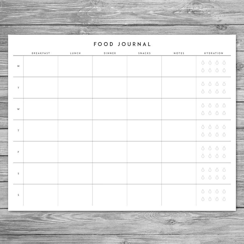 Printable Minimalist Food Journal Weekly Food Journal with Etsy