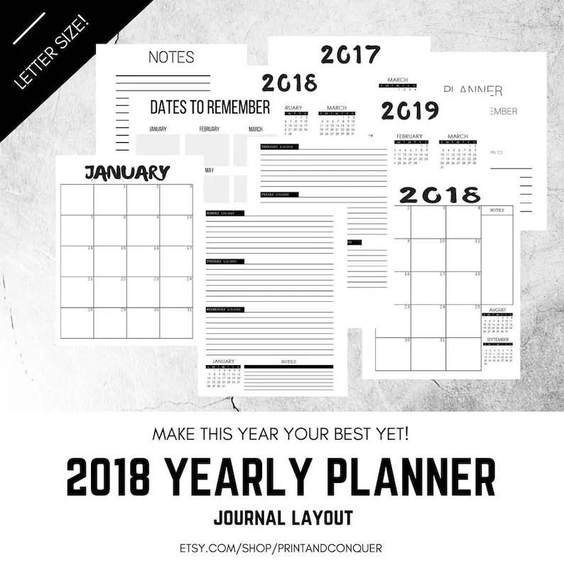 2018 Weekly Planner Printable Planner Journal Layout Etsy
