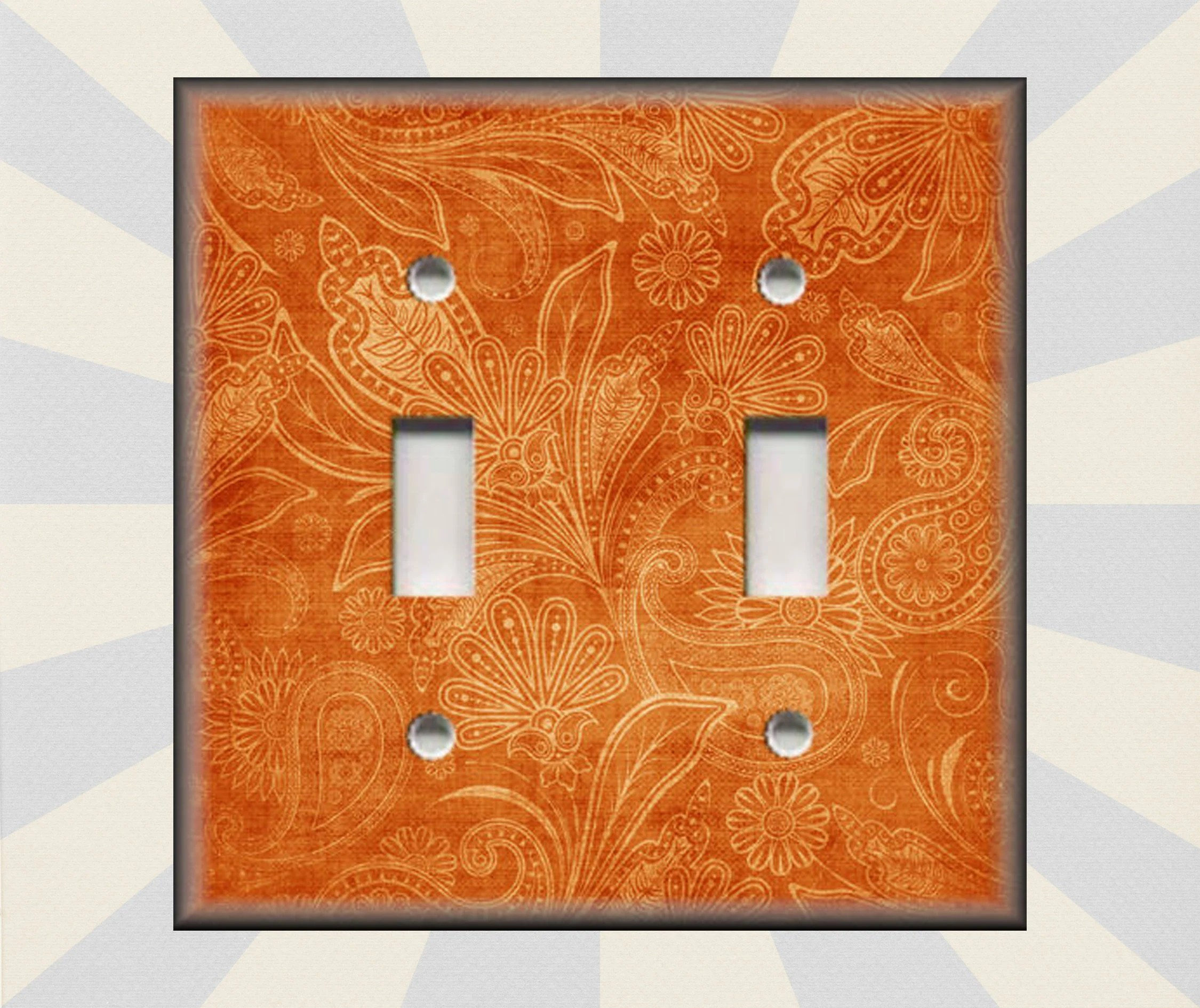 Vintage Light Switch Plate Covers Metal Light Switch Plate Cover Vintage Gypsy Floral Orange Boho Home Decor Switch Plates And Outlet Covers Triples Free Shipping