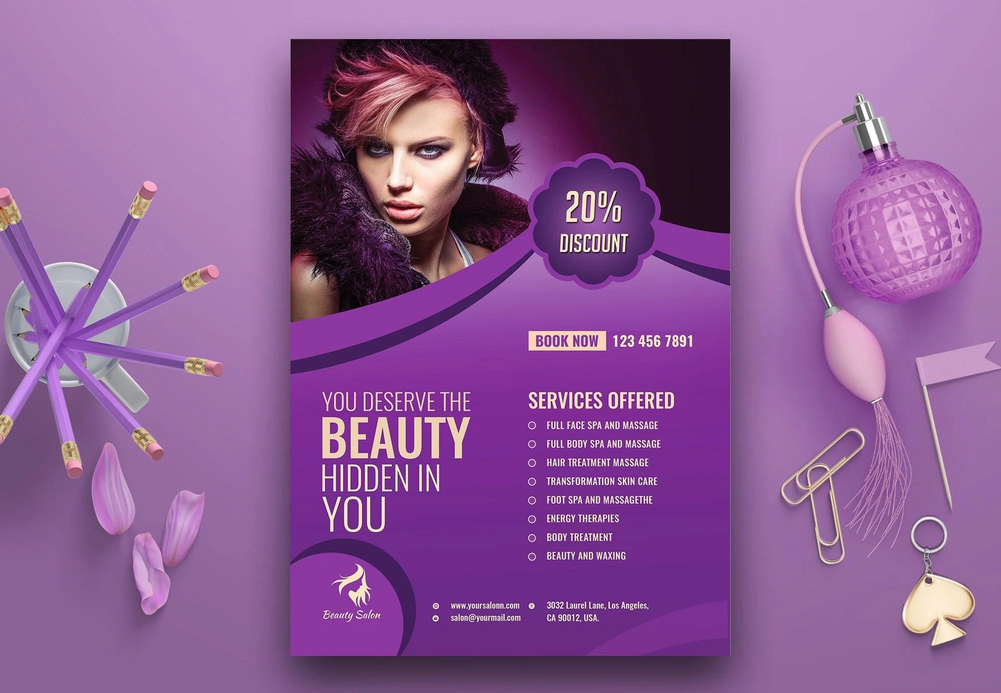 Beauty Salon Flyer Template Spa Flyer Massage Therapy Etsy