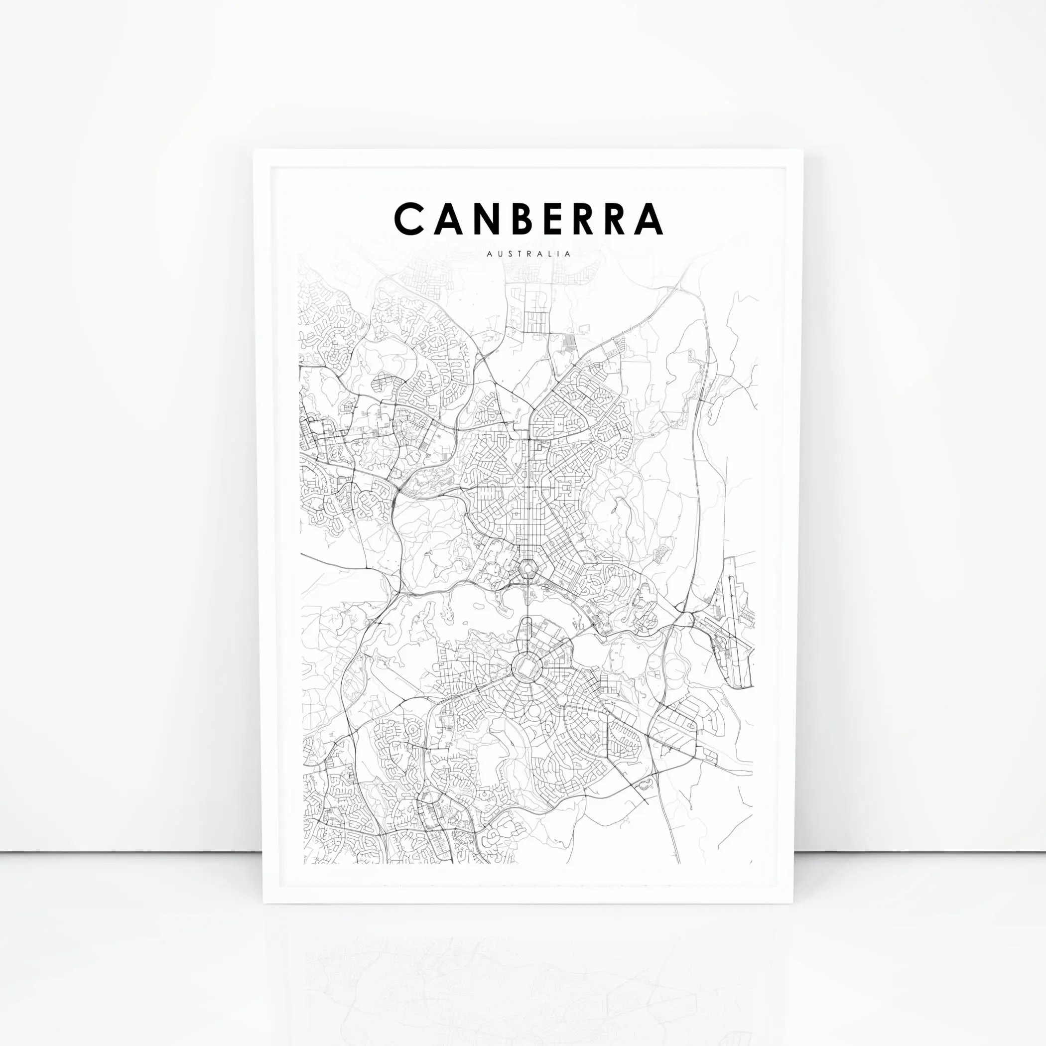 Canberra Map Print Australia Map Art Poster City Street Road Etsy