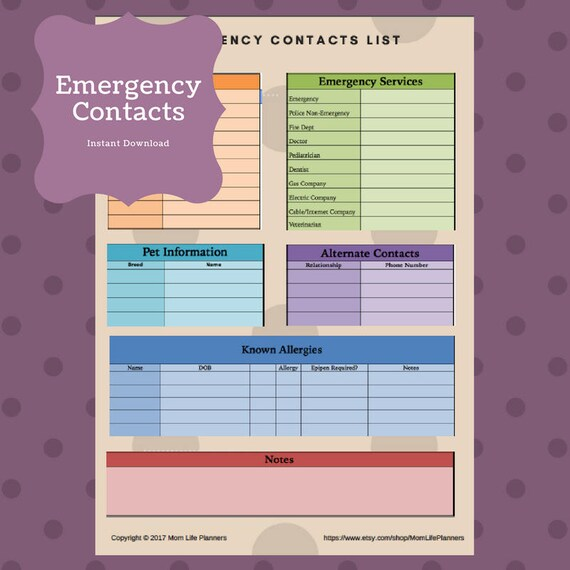 ER Contact List / Nanny / Daycare / Babysitter / Emergency Etsy