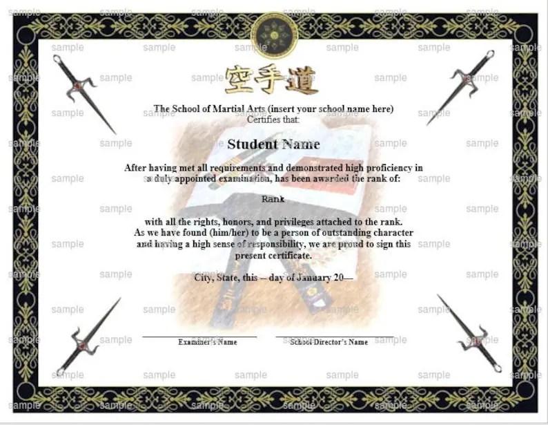 Uniform Gi Martial Arts/Karate Rank Belt Certificate Template Etsy