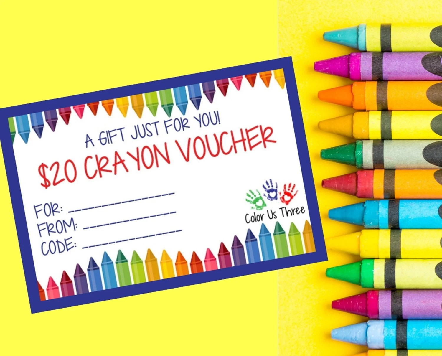 Custom Crayon Gift Certificate 20 USD Downloadable Gift Card Etsy