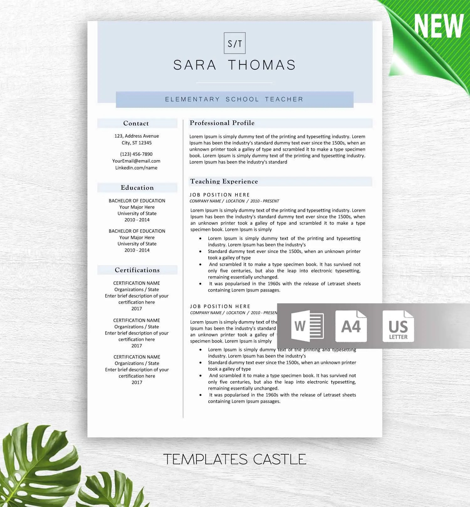 Modern Resume Template for Word 1  2 Page Resumes Cover Etsy