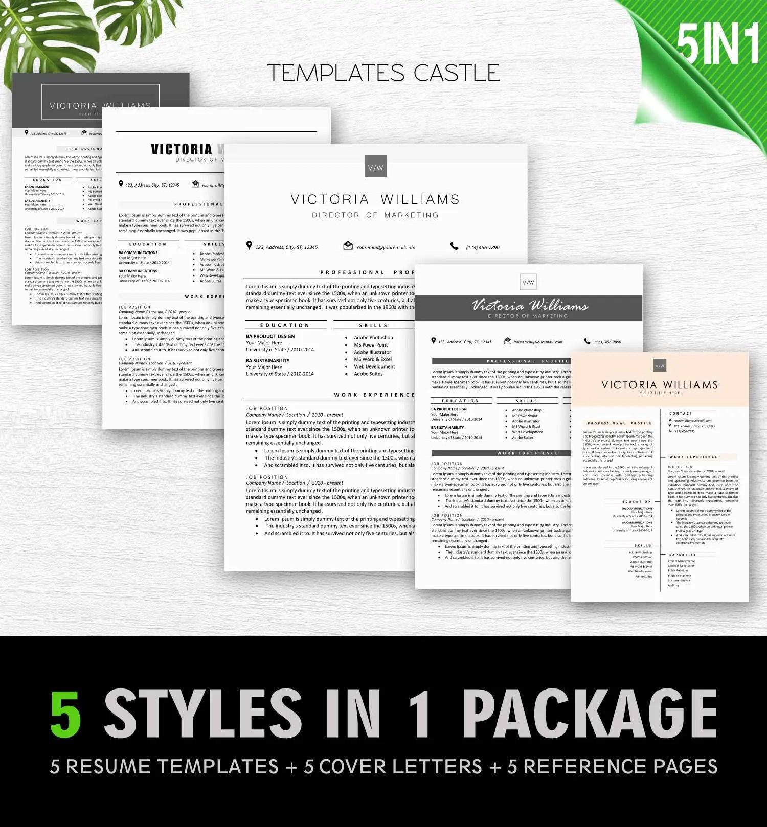 Resume Template professional CV Modern Creative CV Templates Etsy