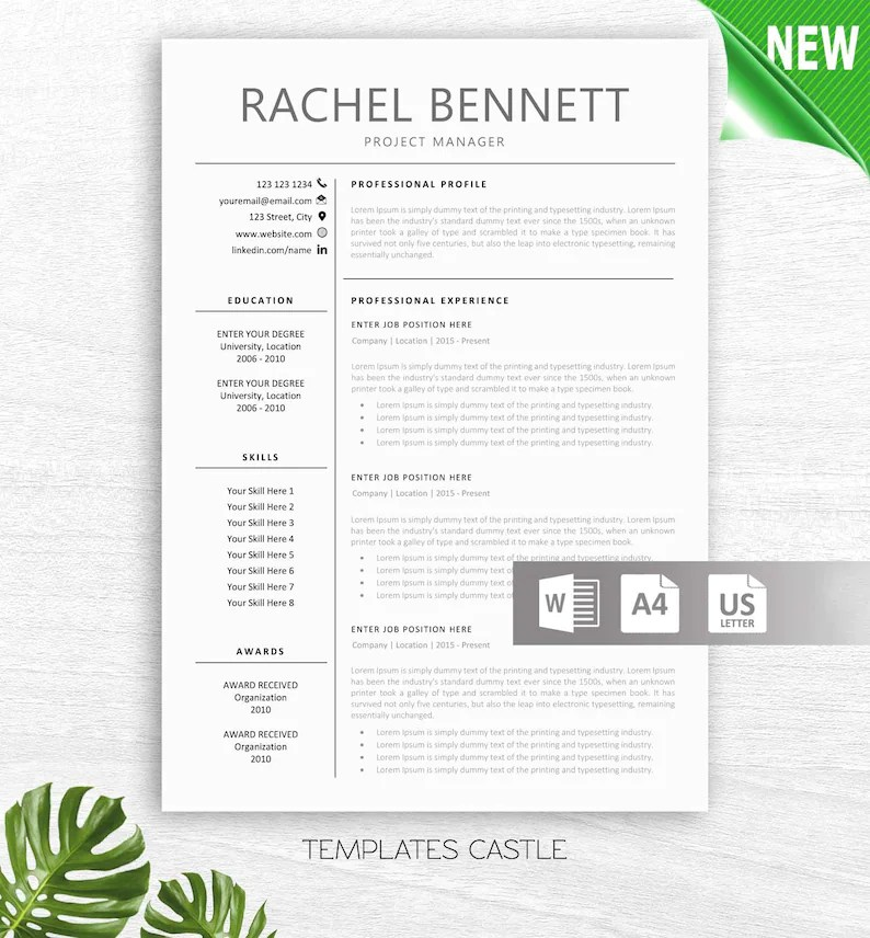 Resume Template Modern professional CV Teacher Resumes Etsy