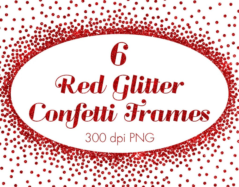 Red metallic confetti frames clipart red christmas confetti Etsy