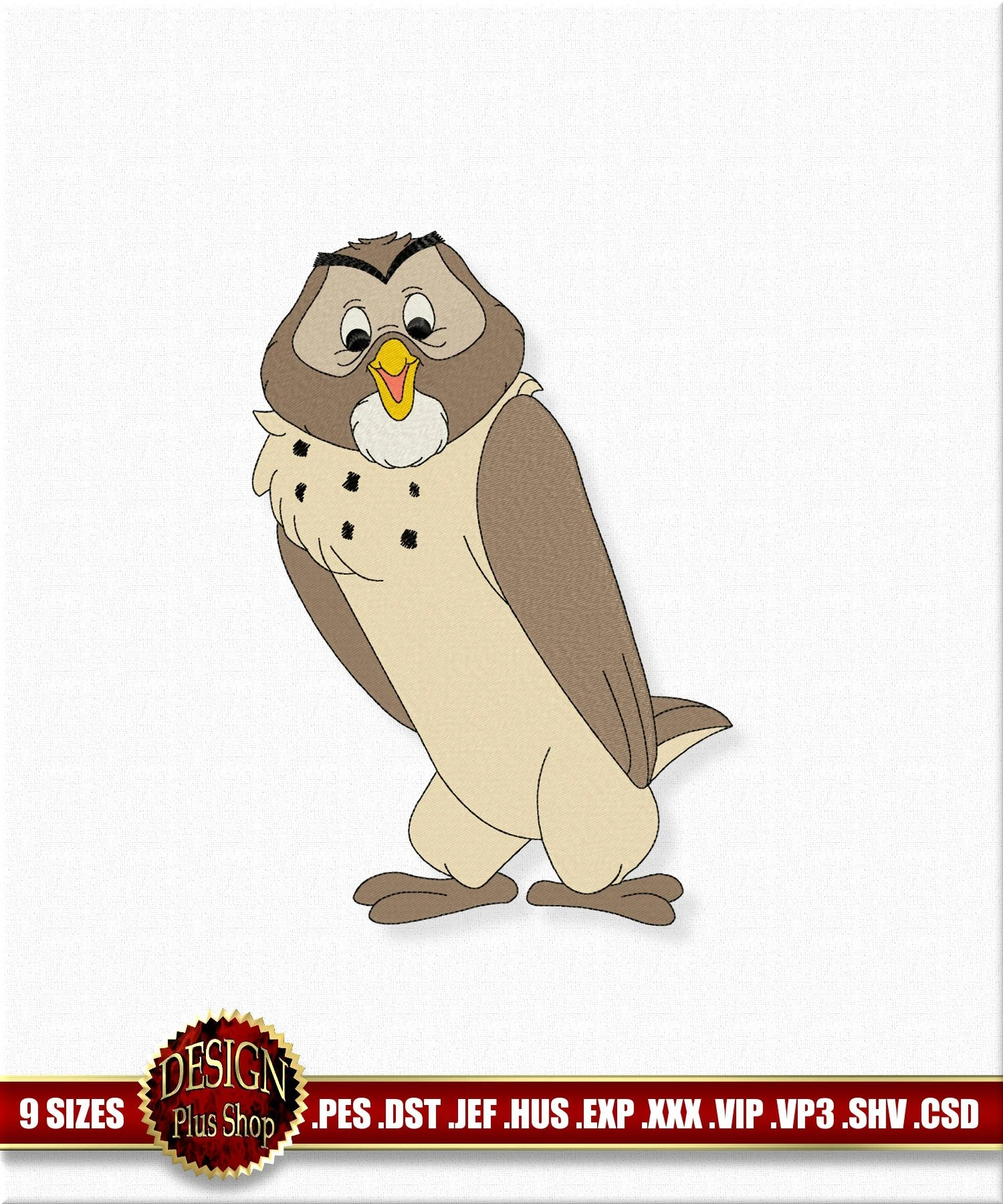 Machine Embroidery Owl Design character of cartoons Disney Etsy