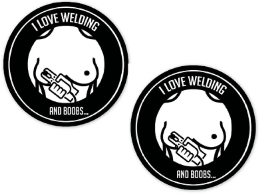 2pcs Welding and Boobs funny Logo stickers decals hard hat Etsy