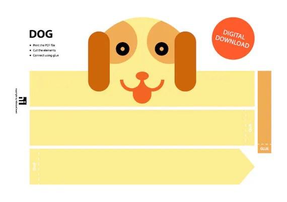 Dog Paper Crown Printable Crown Template Animal Headband Etsy