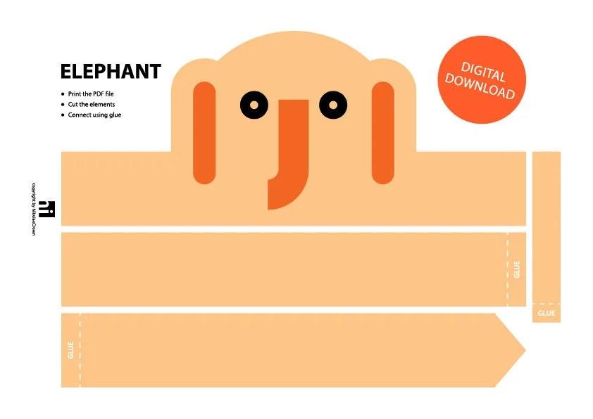 Elephant Paper Crown Printable Crown Template Animal Etsy
