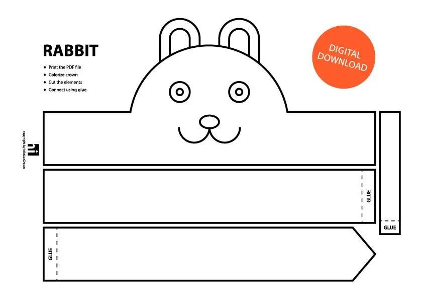 Rabbit Paper Crown Printable Coloring Crown Coloring Etsy