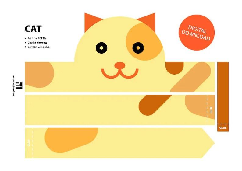 Cat Paper Crown Printable Crown Template Animal Headband Etsy