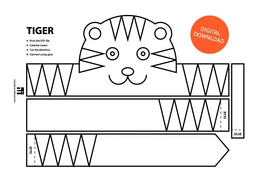 Tiger Paper Crown Printable Coloring Crown Coloring Face Etsy