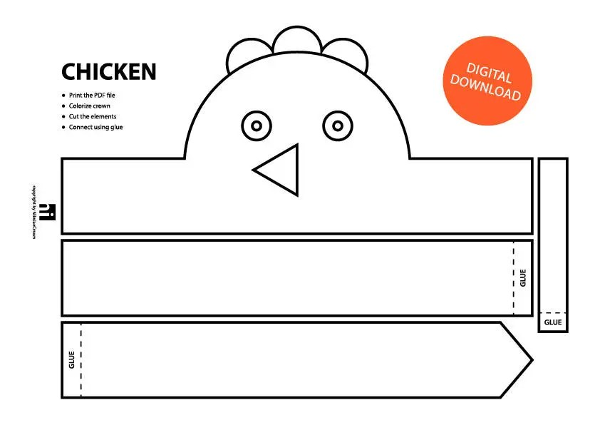 Chicken Paper Crown - Printable Coloring Crown Coloring Face