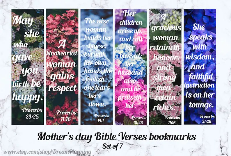 Christian bookmarks for women Mother\u0027s day bible verses Etsy